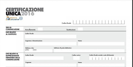 Certificazione Unica 2016: CU sintetico